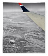 Above The Clouds Wing Tip View Sc Fleece Blanket