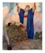 Abraham And Isaac On Mount Moriah Fleece Blanket