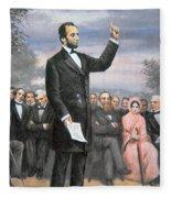 Abraham Lincoln Delivering The Gettysburg Address Fleece Blanket