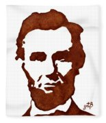 Abraham Lincoln Original Coffee Painting Fleece Blanket