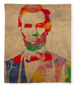 Abraham Lincoln Watercolor Portrait On Worn Distressed Canvas Fleece Blanket