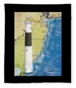 Absecon Lighthouse Nj Nautical Chart Map Art Cathy Peek Fleece Blanket