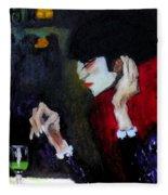 Absinthe Drinker After Picasso Fleece Blanket