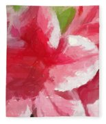 Abstract 106 Pink Painterly Flowers Fleece Blanket