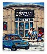Montreal Art Exhibit At Java U Carole Spandau Montreal Street Scenes Paintings Hockey Art  Fleece Blanket