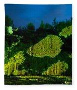 Abstract Art Projection Over Night Nature Scenery Fleece Blanket