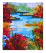 Abstract - Autumn Blaze On Catskill Creek Fleece Blanket