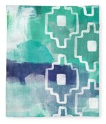 Abstract Aztec- Contemporary Abstract Painting Fleece Blanket