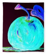Abstract Blue And Teal Apple On Black Fleece Blanket