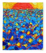 Abstract Blue Poppies In Sunrise -original Oil Painting Fleece Blanket