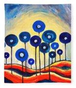 Abstract Blue Symphony  Fleece Blanket