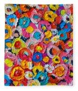Abstract Colorful Flowers 1 - Paint Joy Series Fleece Blanket
