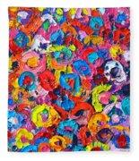 Abstract Colorful Flowers 3 - Paint Joy Series Fleece Blanket