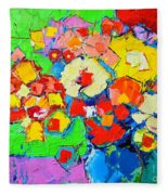 Abstract Colorful Flowers Fleece Blanket