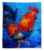 Abstract Colorful Gallic Rooster Fleece Blanket