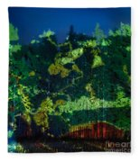 Abstract Colorful Light Projection On Trees Fleece Blanket