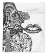 Abstract Drawing #1 - Young Woman Fleece Blanket