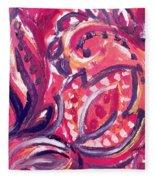 Abstract Floral Design Purple Note Fleece Blanket