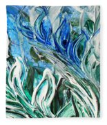 Abstract Floral Sky Reflection Fleece Blanket