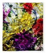 Abstract Flowers Messy Painting Fleece Blanket