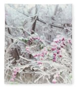Abstract Ice Covered Shrubs Fleece Blanket