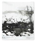 Modern Abstract Black Ink Art Fleece Blanket