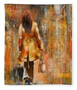 Abstract Lady  5 Fleece Blanket