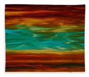 Abstract Landscape Art - Fire Over Copper Lake - By Sharon Cummings Fleece Blanket