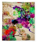 Abstract Mixed Media Fleece Blanket