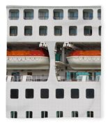 Abstract Of Lifeboats On A Large Cruise Ship Fleece Blanket