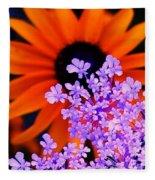 Abstract Orange And Purple Flower Fleece Blanket