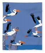 abstract Pelicans seascape tropical pop art nouveau 1980s florida birds large retro painting  Fleece Blanket