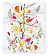 Abstract Pen Drawing Fifty-five Fleece Blanket