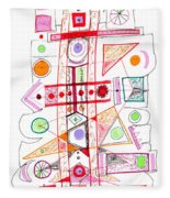 Abstract Pen Drawing Fifty-two Fleece Blanket