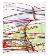 Abstract Pen Drawing Forty-five Fleece Blanket
