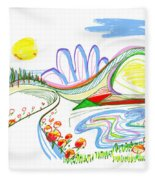 Abstract Pen Drawing Forty-four Fleece Blanket