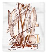 Abstract Pen Drawing Sixty-four Fleece Blanket