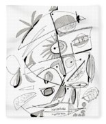 Abstract Pen Drawing Sixty-seven Fleece Blanket
