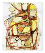 Abstract Pen Drawing Sixty-three Fleece Blanket