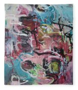 Abstract Pink Blue Painting Fleece Blanket