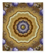 Abstract Pond In Gold Fleece Blanket