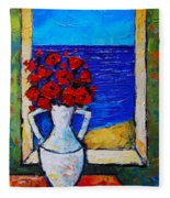 Abstract Poppies By The Sea Fleece Blanket