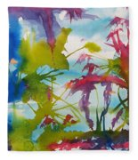 Abstract -  Primordial Life Fleece Blanket