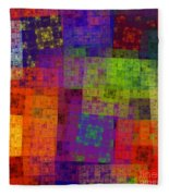 Abstract - Rainbow Bliss - Fractal - Square Fleece Blanket