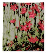 Abstract Red Flowers Fleece Blanket