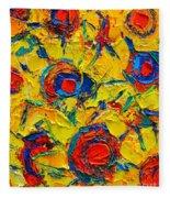 Abstract Sunflowers Fleece Blanket