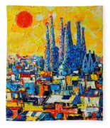 Abstract Sunset Over Sagrada Familia In Barcelona Fleece Blanket