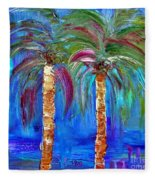Abstract Venice Palms Fleece Blanket