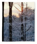 Abstract Winter Sunset Fleece Blanket