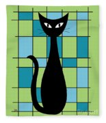 Abstract With Cat In Green Fleece Blanket